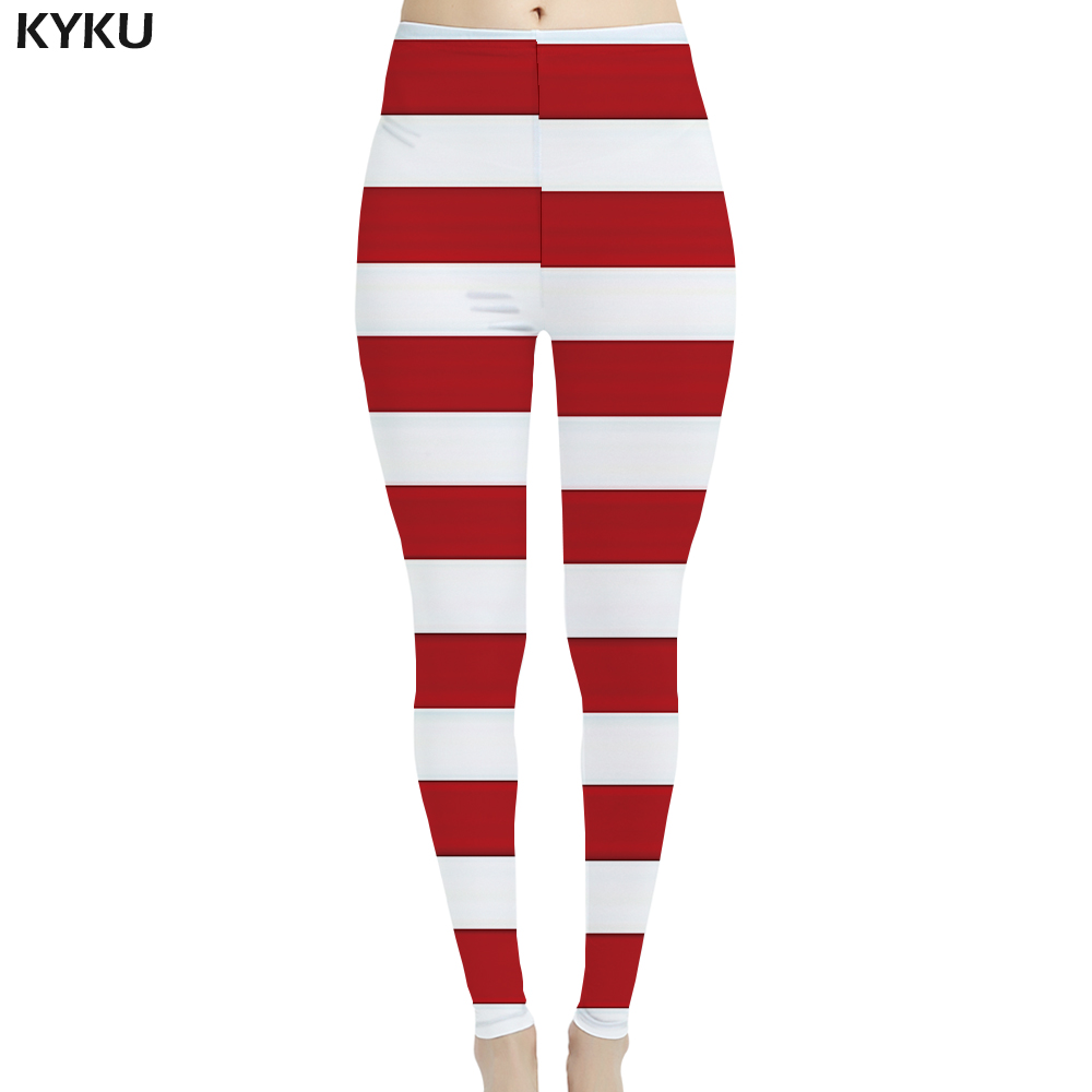 KYKU Lattice Leggings Women Star Ladies Red Sexy American Flag 3d Print  Sport Leggins Womens Pants Casual