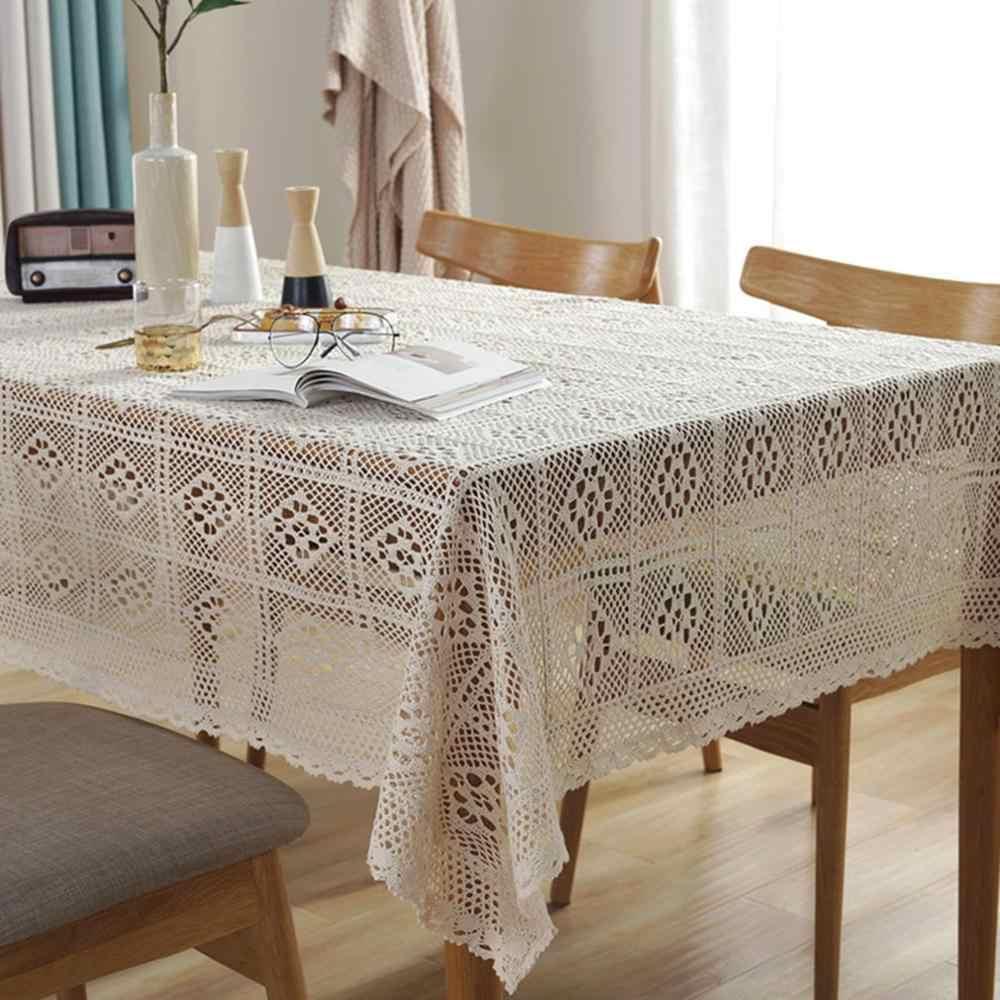 Mantel decorativo impreso cuadrado hueco algodón Lino encaje mantel decoración del hogar mesa de comedor para Cocina