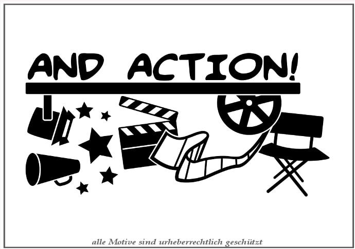 And Action Cinema Vinyl Wall Decal Film Camera Wanddeko Wall Sticker Movie Studio Wall Sticker Bedroom Decorative Decoration