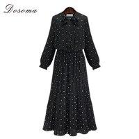 Autumn Maxi Long Sleeve Chiffon Dress Women 2016 European Style Polka Dot Dress Girls Plus Size