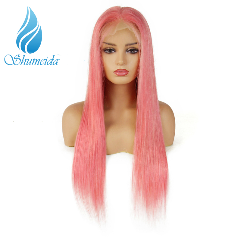 SHD Pink Lace Front Wigs Pre Plucked with Baby Hair Straight Hair Glueless Lace Wigs 180