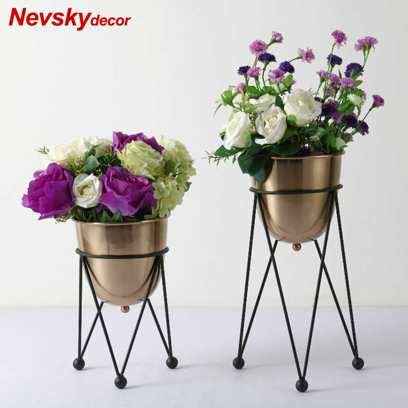 Modren floor flower vases for wedding Stained metal vase decoration home decor tabletop vase decorations event products party