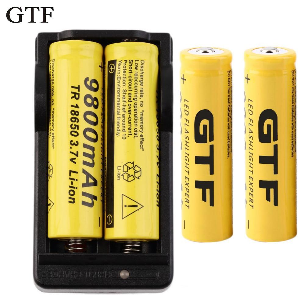 GTF 4 pc/lot 18650 Batterie 3.7 V 9800 mAh Rechargeable Li-ion Batterie + Chargeur UE Pour 18650 Batterie lampe de Poche accumulateur batterie