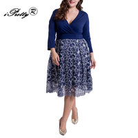 High Quality Women Vintage Lace Dress Cross V Neck Long Sleeve Patchwork Ball Gown Dresses Plus