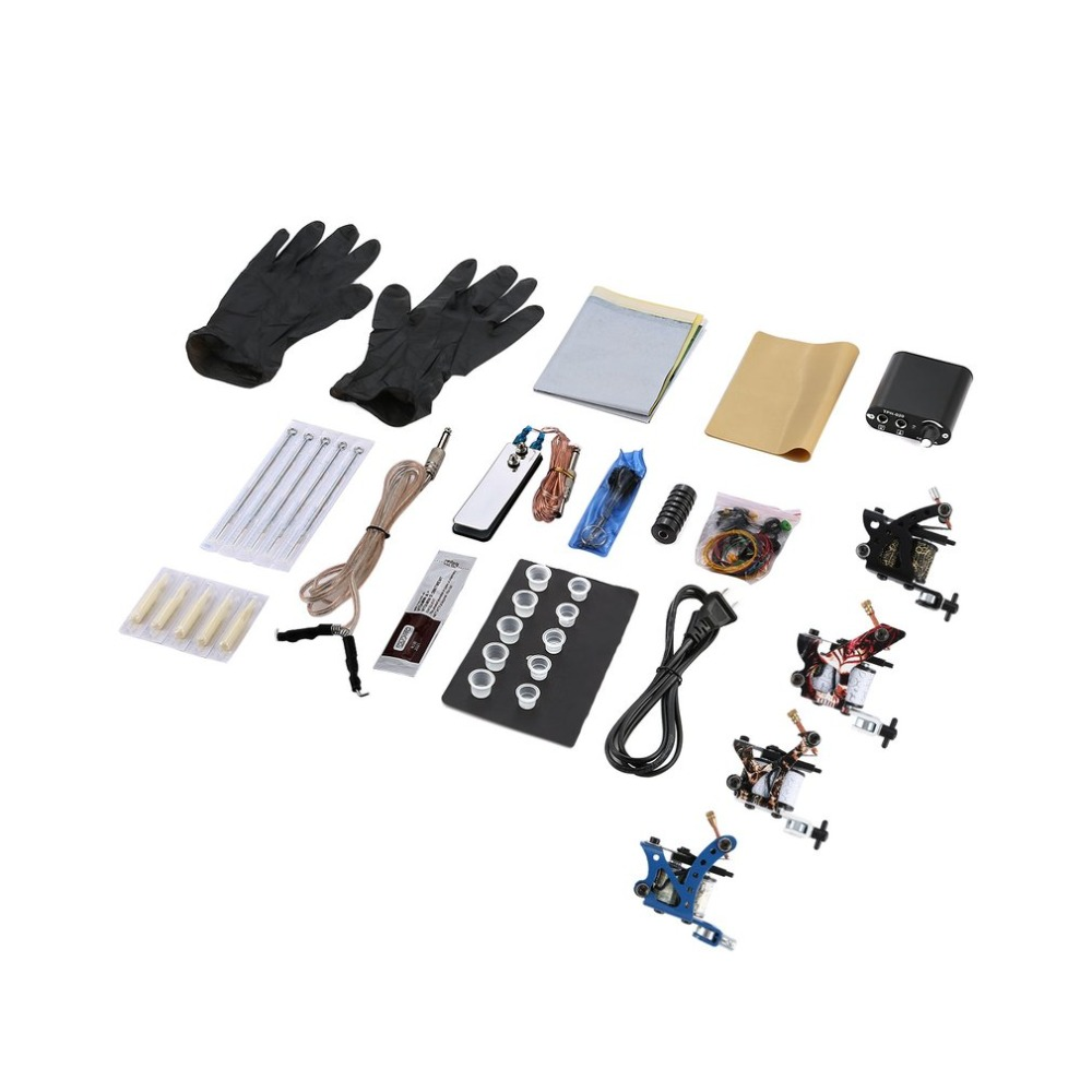 Tattoo Complete Beginner Tattoo Kit 4 Pro Machine Inks Power Supply Needle Grips Tips Tatto Accessories Basic SetTattoo Complete Beginner Tattoo Kit 4 Pro Machine Inks Power Supply Needle Grips Tips Tatto Accessories Basic Set