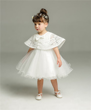 Baby Dresses for Girls 2018 summer  Chiffon Flower Baby Dress Clothes 1 year Newborn Girl Clothing 2pcs/set dress+shawl