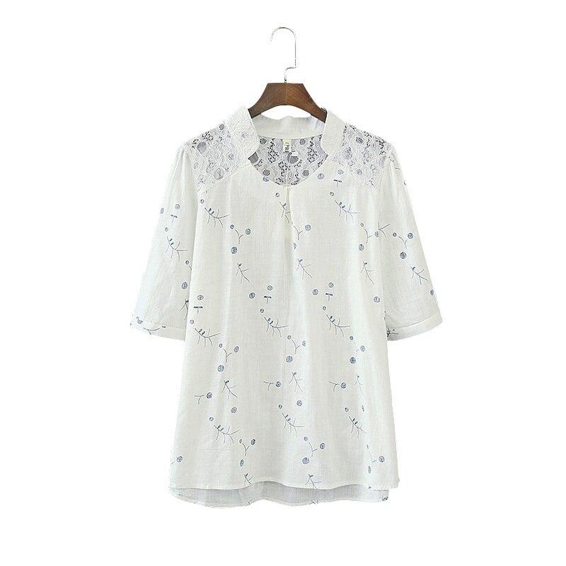 Прямая доставка Для женщин Блузка Femininas блузка рубашка Для женщин Стенд Цветочные кружевные пикантные Повседневное льняные рубашки плюс Ра...