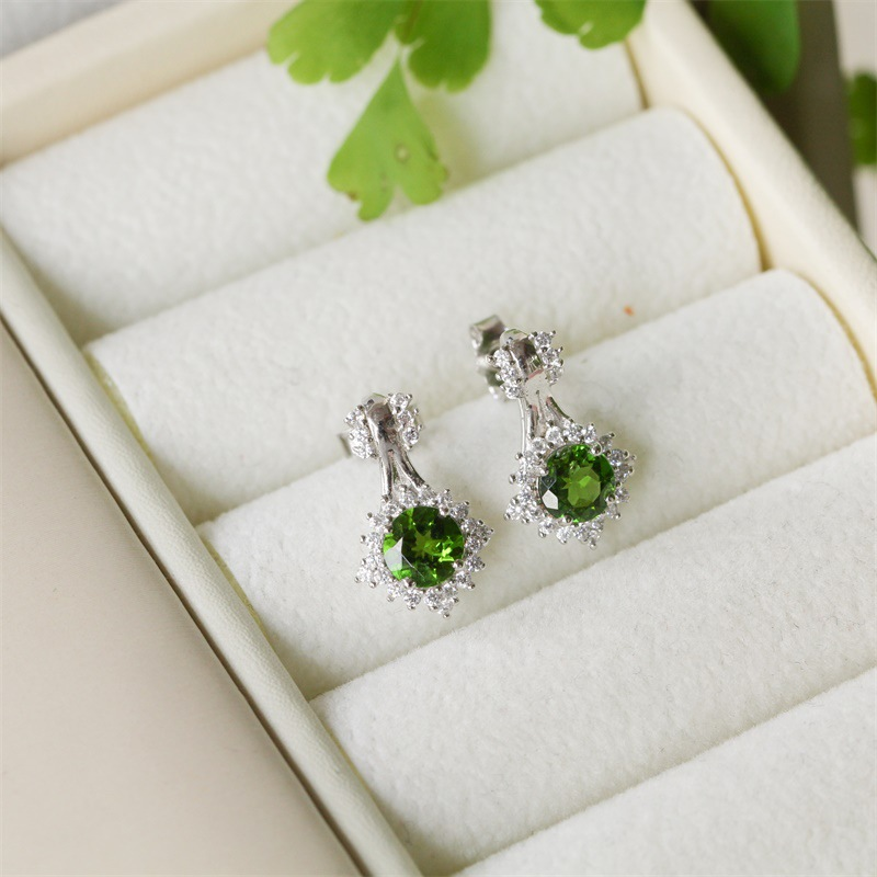 TYME Semi-precious stones stud earring silver fashion gold color women earrings natural diopside crytal Earrings for women