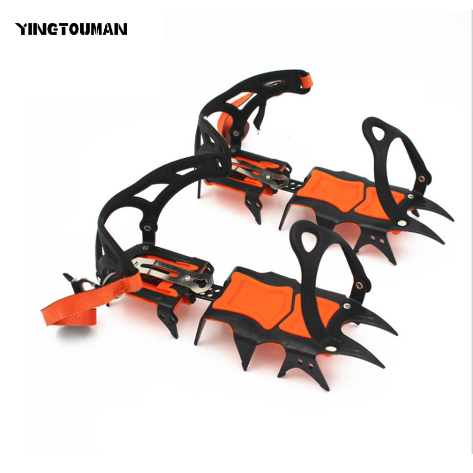 YINGTOUMAN 14 teeth Anti Slip Snow Big Ice Gripper For Mountaining Climbing Hiking Practical Grip Spike