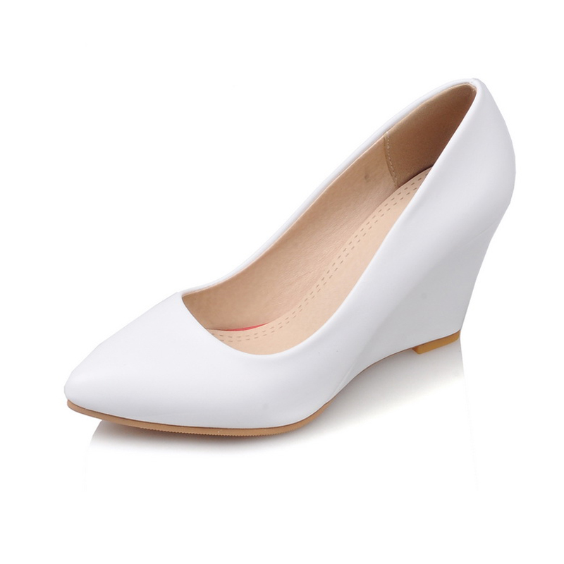 Office ladys wedges women shoes 2017 spring new womens pointed toe high heels shallow pumps big size 40-43 plus size 34 49 new spring summer women wedges shoes pointed toe work shoes women pumps high heels ladies casual dress pumps