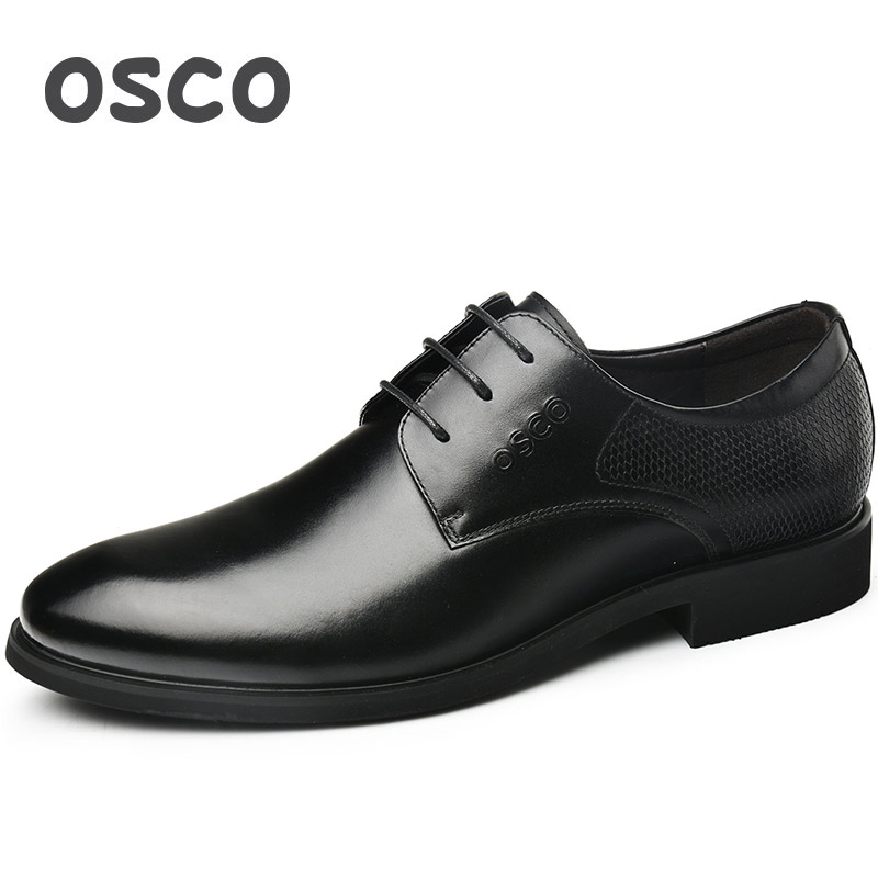 OSCO Oxords Genuine Leather Shoes Men Spring Autumn Business Casual Dress Shoes Male Pointed Toe Breathable Wedding Derby Shoes osco men shoes spring autumn genuine leather business casual shoes round toe slip on comfortable low shoes office work shoes