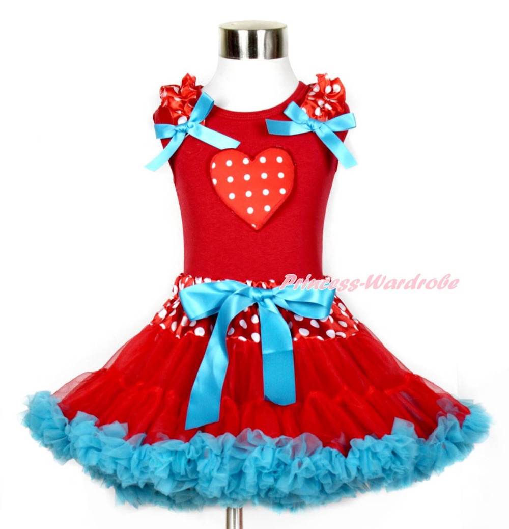 Valentine Hot Red White Dot Heart Red Tank Top Minnie Waist Red Blue Skirt 1-8Y MAPSA0213 megashopping green bowknot white dot favor wedding valentine gift boxes sold individually