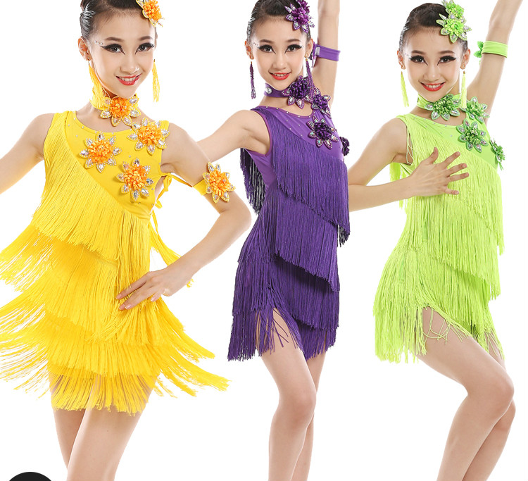 Child Tassels Latin Dance Ballroom Girls Samba Salsa Dresses Sequin Costumes Children Tango Dress for Kids Latino Cha Chat