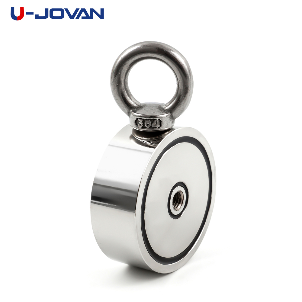U-JOVAN Strong Powerful Fishing Salvage Neodymium Magnet Double Side 60*22mm 120KG Pulling Mounting Pot with Ring Sea Holder