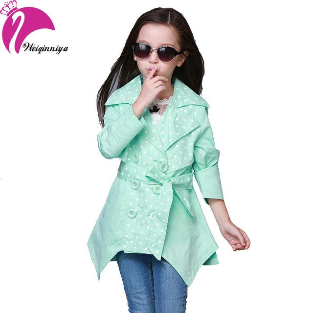 Nueva llegada de la marca 2016 muchacha de los niños Trench abrigos caramelo moda Solid larga a prueba de viento chaquetas Outwear primavera ropa para niños niñas