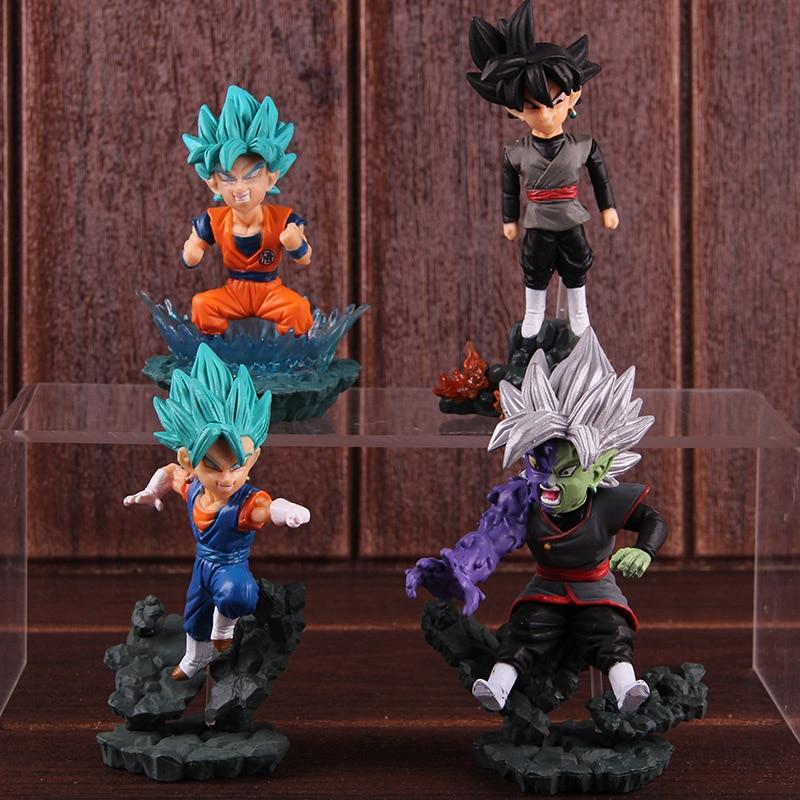 WCD World Collectable Diorama Dragon Ball Super Goku Black Zamasu Vegetto Blue Goku Super Saiyan Blue Figure Action Toy 4pcs/set 1