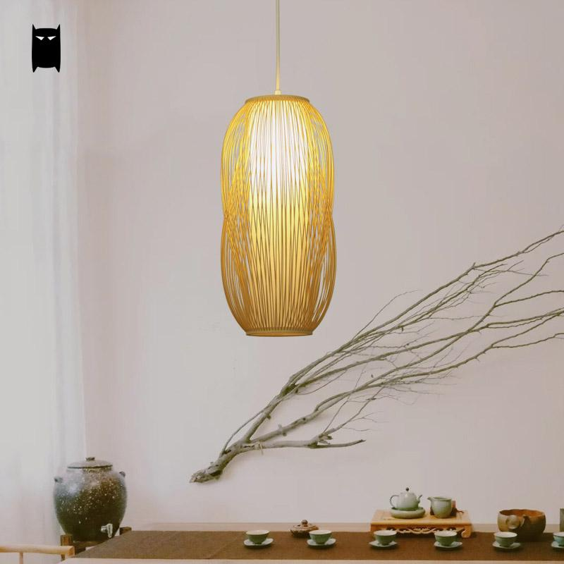 Handmade Bamboo PVC Lantern Shade Pendant Light Fixture Asian Korean Japanese Hanging Lamp Luminaria Indoor Dining Tea Room Bar