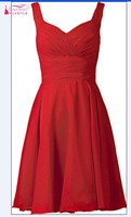 Real Photos Homecoming Dresses Chiffon Red Short Knee Length Party Dress Gown