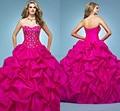 Rosa De cetim Pick up plissado espartilho vestidos Quinceanera Vestido De 15 Anos De Debutante Sweetheart frisada Prom Pageant Vestido