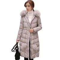 Women Down Jacket 2017 Winter Jacket Women long white duck Down Parks Downs Jackets hooded Fur down coat Outwear Overcoat QH0993