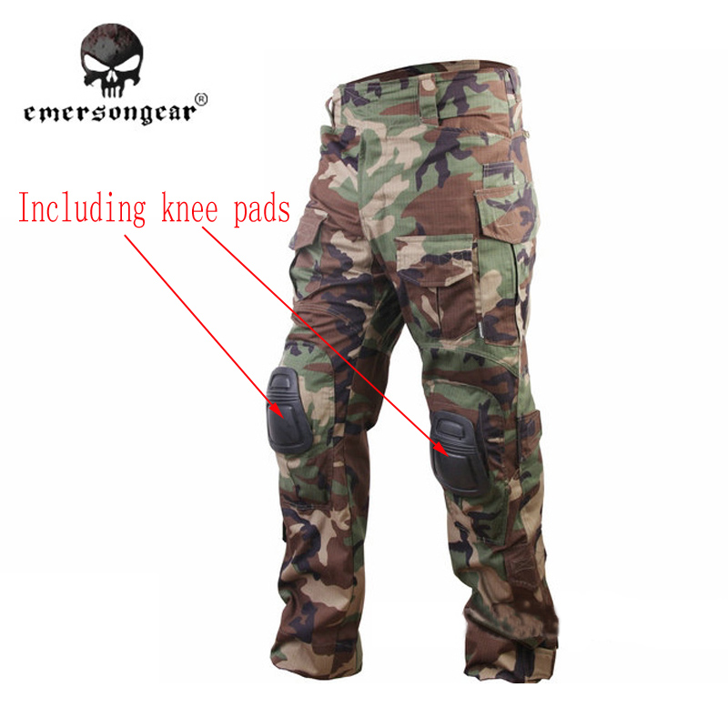 EmersonGear G3 Tactical Pants Woodland  trousers and knee Pads military game cosplay uniform EM7044 new emersongear tactical woman g3 combat uniform pants