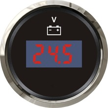 High Quality Black Digital Voltage Meter Voltmeter 12v / 24v Waterproof Volt Meters Suitable for Boat Auto Motor Home