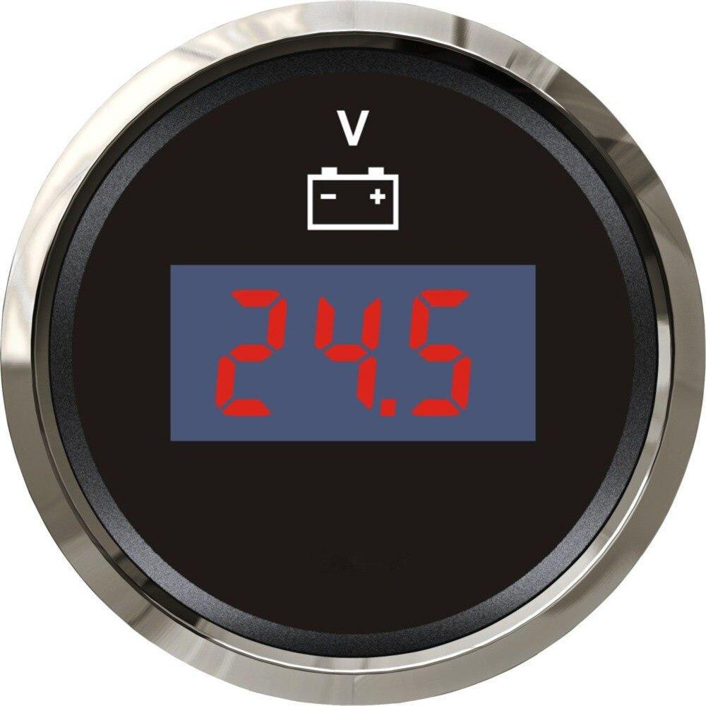 High Quality Black Digital Voltage Meter Voltmeter 12v / 24v Waterproof Volt Meters Suitable for Boat Auto Motor Home