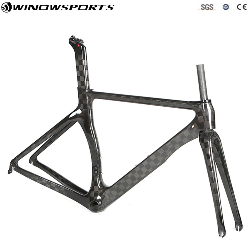 2019 New Aero Carbon Road Frameset Carbon Road Bike Frame+Fork+Seatpost 18K Carbon Bicycle Frameset Carbon Fibre Racing Bicycle