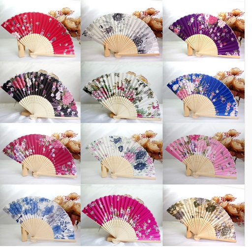 50Pcs Silk Wedding Fan Japanese Folding Hand Fan Chinese Dance Fans Personalized Wedding Shower Gift Customized