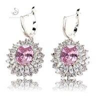 Fashion Trendy PinkJewelry 925 SILVER GEMSTONE Earrings R462