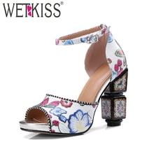 WETKISS New Summer High Heels Sandals Women Print Kid Suede Strange Style Footwear 2018 Ankle Strap