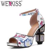 Wetkiss/Новые Летние сандалии на высоком каблуке Для женщин печати Малыш замши необычный стиль обувь 2018 Ремешок на щиколотке Ретро вечерние женские Обувь