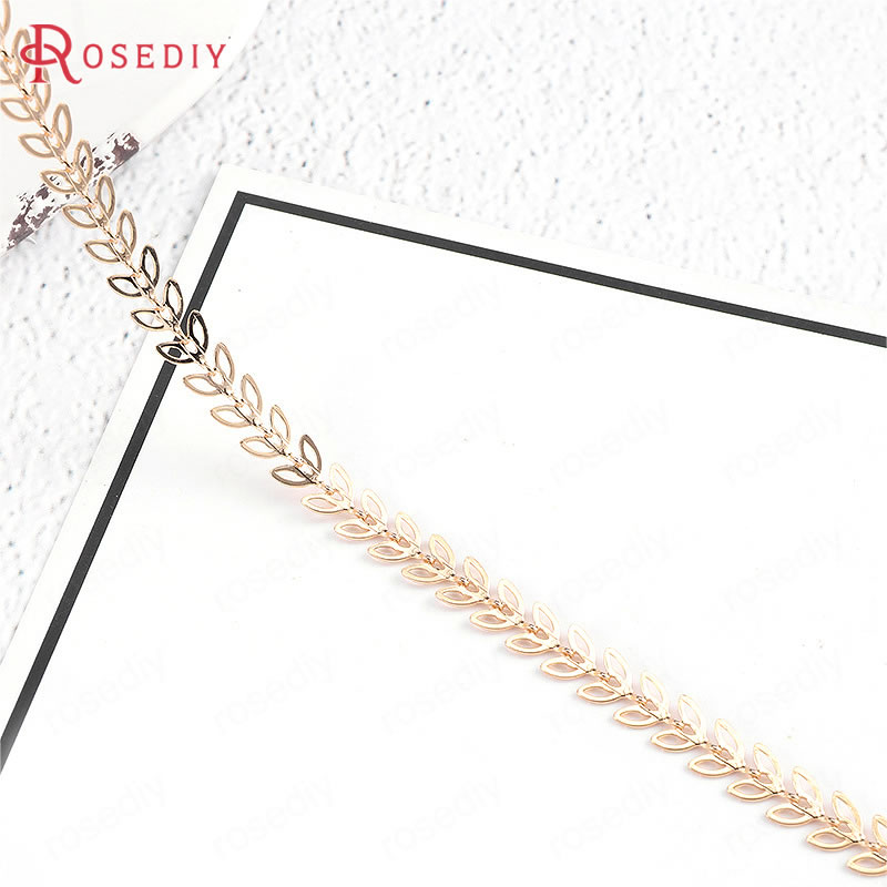 50CM Per Piece Chain Width 6.5MM 24K Gold Color Brass Tree Leaf Necklace Chain High Quality Diy Jewelry Findings Accessories