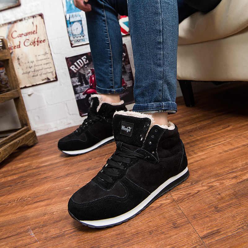 男性ブーツファッション冬のブーツメンズ冬の靴暖かいアンクルブーツ男性の雪のブーツレースアップスニーカー男性靴ブルーブラックプラスサイズ