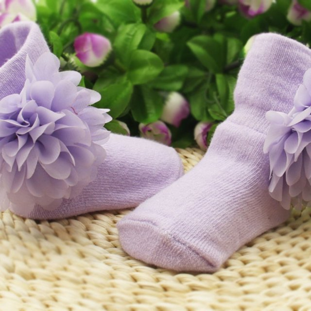 1 Pair Cute Baby Socks With Flower