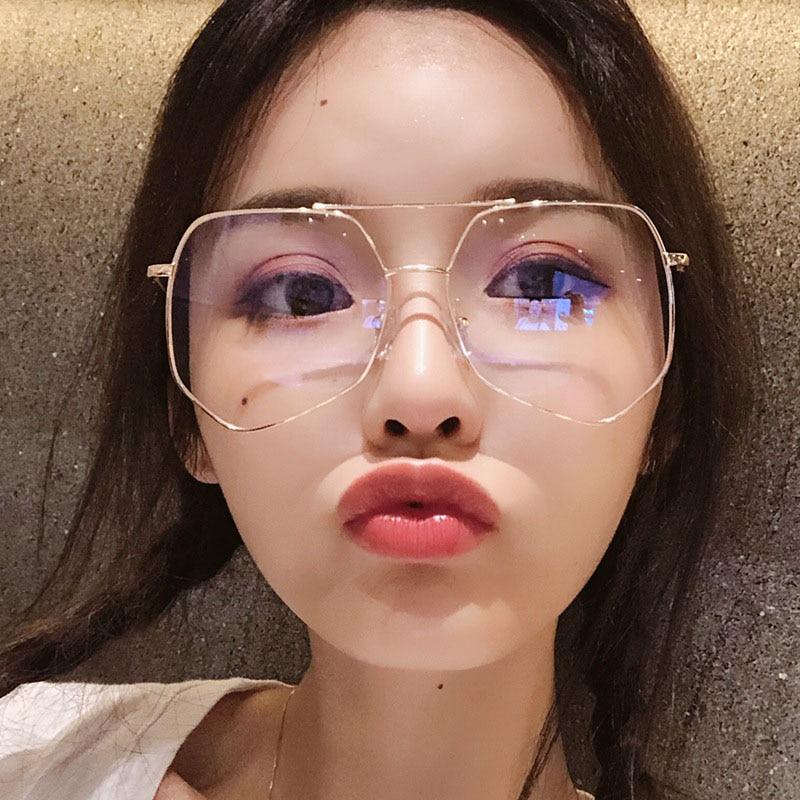 New Designer Woman Glasses Optical Frames Metal Polygonal Spectacle Frame Frame Clear Lens Eyeware Black Silver Gold Eye Glass