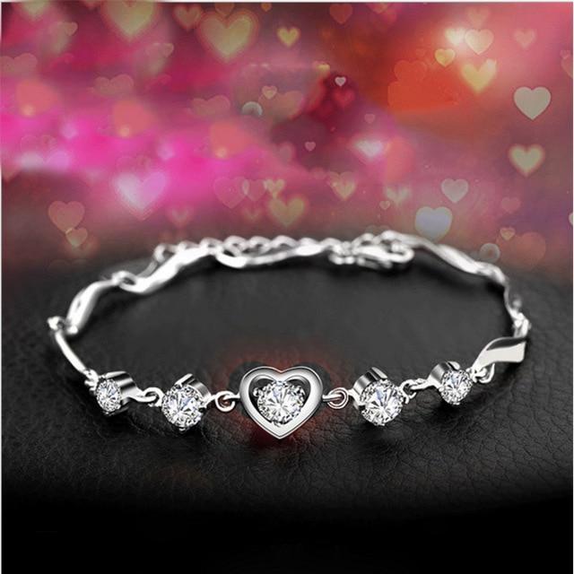 b5abfd2b0b S925 Sterling Silver Bracelet for Ladies Couples Silver Jewelry Korean  Fashion Handwear High-grade Heart-shaped Zircon Bracelet
