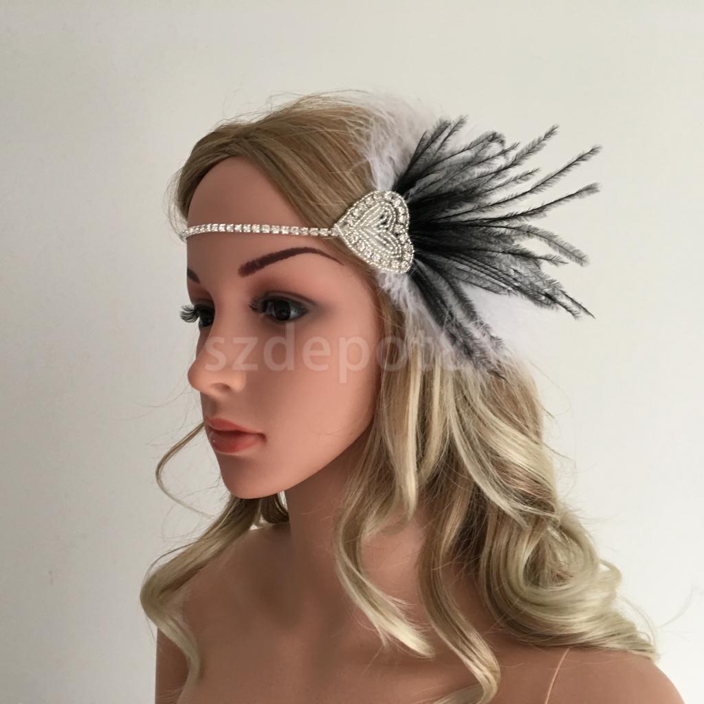1920s Great Gatsby Black White Feather Fascinator Headpiece Flapper Headband Crystal Chain Love Ribbon Fancy Dress Accessory