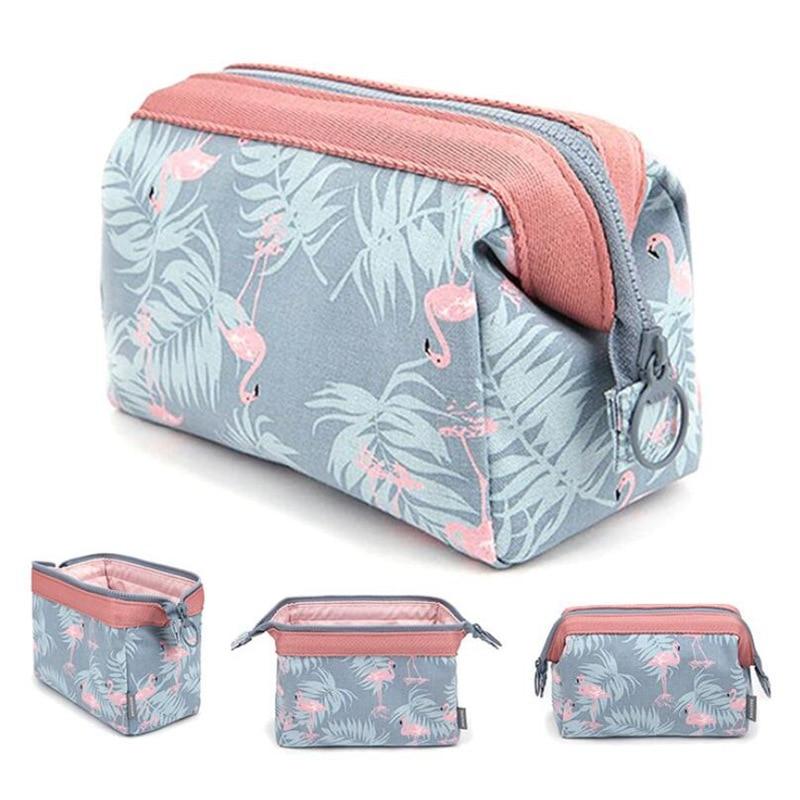 Cartoon Flamingo Cosmetic Bag Women Function Travel Trunk Makeup Bag  Zipper Make Up Organizer Storage Pouch Toiletry Kit Box