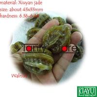 wholesale & retail natural Youxian jade hand massage health ball Walnut shape 43x33mm 2pieces/set