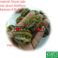wholesale & retail natural Youxian jade hand massage health ball Walnut shape 43x33mm 2pieces/set
