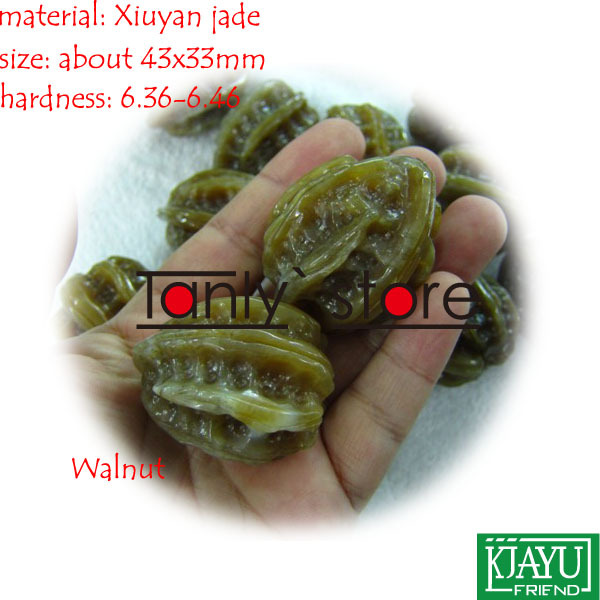 wholesale & retail natural Youxian jade hand massage health ball Walnut shape 43x33mm 2pieces/set 2 sets ball the plum flower jade handball furnishing articles hand bead natural jade health care gifts