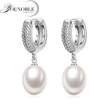 Wedding real genuine freshwater pearl earrings for women,925 sterling silver earrings pearl anniversary girls jewelry gift white(China)