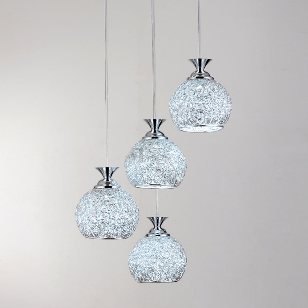4 Lights Dining Room Aluminum Wire Ball Ceiling Light Bar Counter Hanging Lamp Living Gallery Hallway