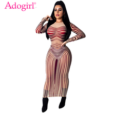 Adogirl Stripe Print Sheer Mesh Maxi Dress Highly Stretchy O Neck Long Sleeve Sheath Bodycon Long Club Party Dress Casual Outfit недорого