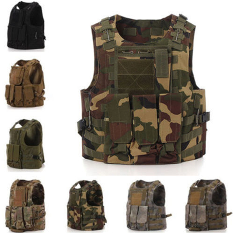 Tactical Vest 8 Colors Mens Military Adjustable Combat Assault Plate Carrier Hunting Vest Field Battle Airsoft Molle Waistcoat airsoft adults cs field game skeleton warrior skull paintball mask