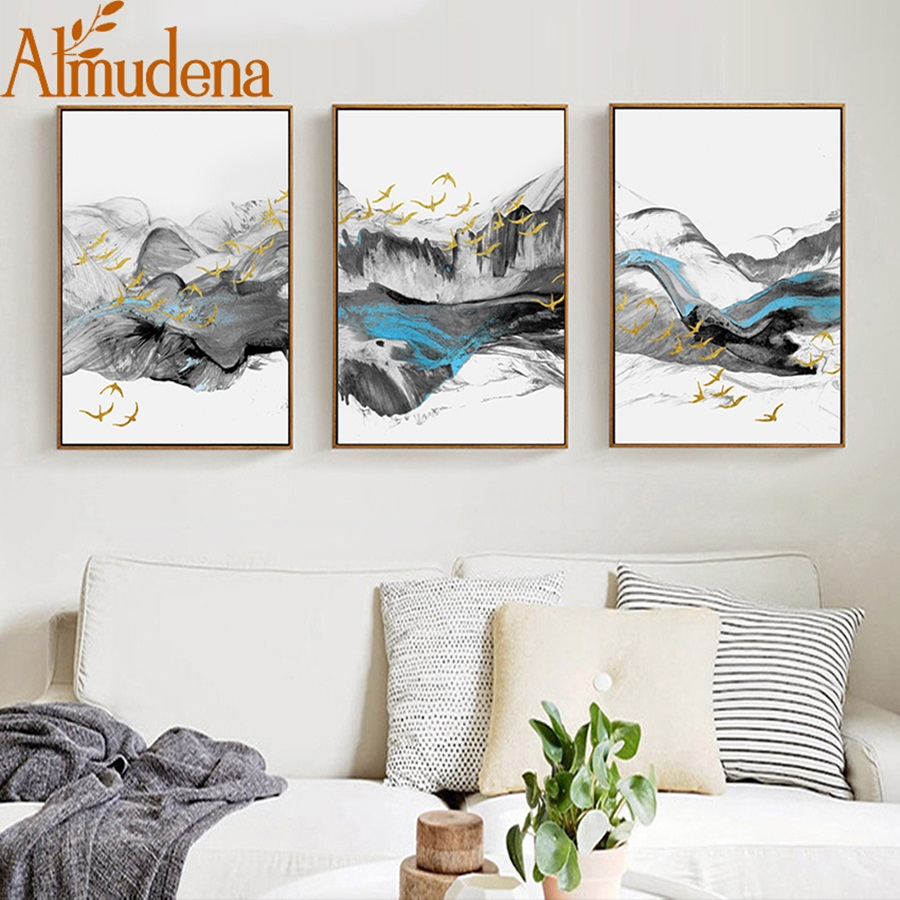 Hot Sale ALMUDENA Bird New Chinese Abstract Blue Ink Landscape ...