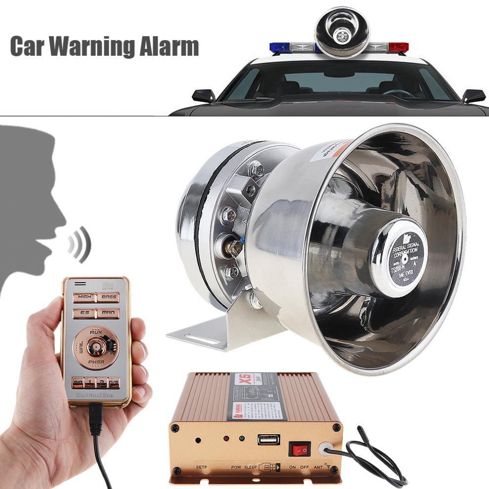 12V 400W 18 Tone Loud Car Warning Alarm Police Siren Horn PA Speaker with MIC System