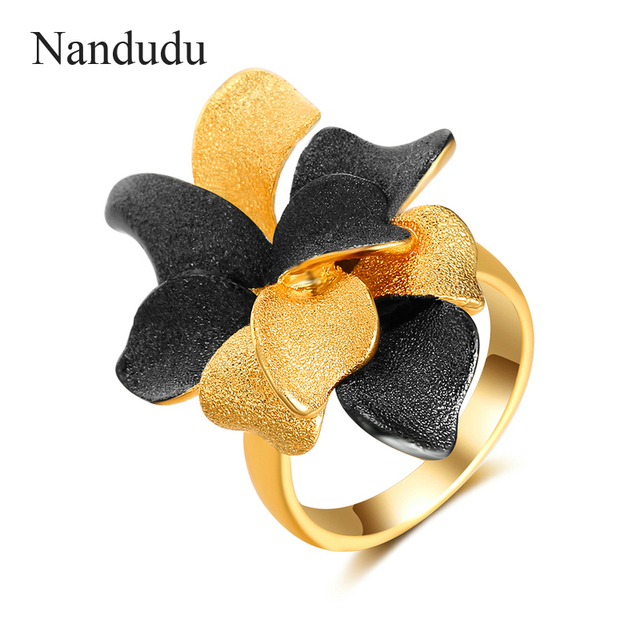 Nandudu Black & Gold Petal Flowers Rings Accessories Fashion Jewelry Gift for Ch