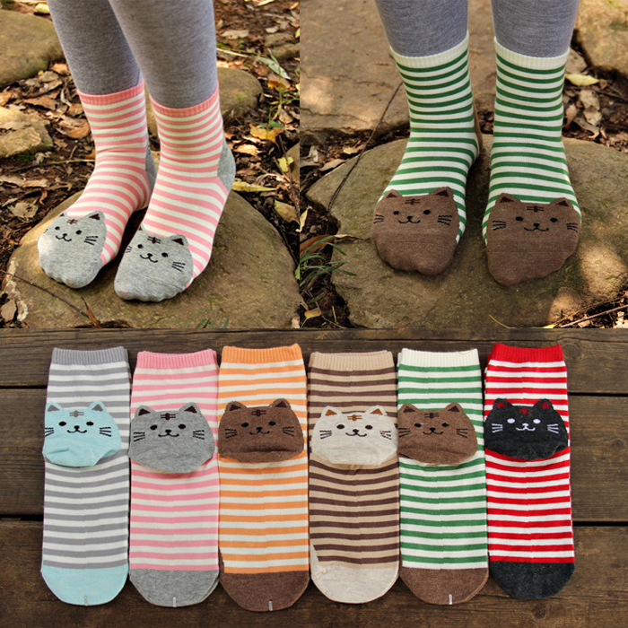 Hot!! 3D animals style striped fashion cartoon socks women 3D cat footprints Cute Cotton Socks floor meias soks
